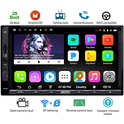 2. ATOTO A6 Double Din Car Stereo with Dual Bluetooth