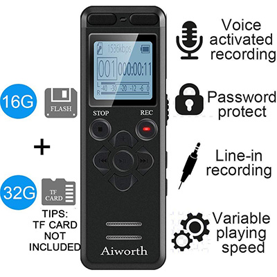 8.aiworth 16GB Digital Voice Activated Recorder