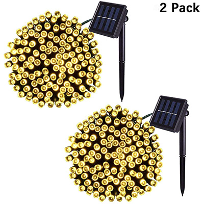 6. Jiamao 2 Pack 200LED 75.5ft 8 Modes Solar Lights