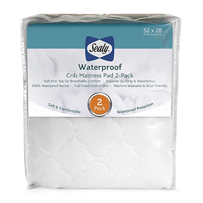 8. Sealy Fitted Waterproof Crib Mattress Pad Cover 2-Pack