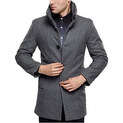 chouyatou Mens Basic Band Collar Full Zip Mid-Weight Wool Blend Pea Coats