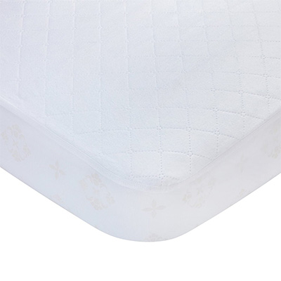 3. Carters Crib and Toddler Protective Mattress Pad Cover, White