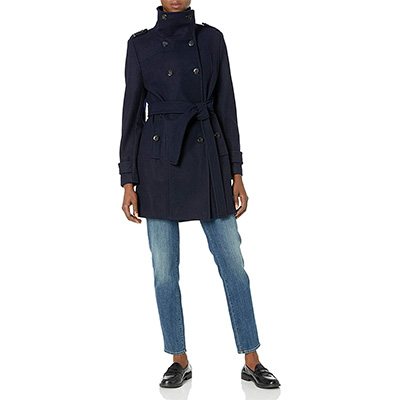 6. Calvin Klein Women's Wool Belted Double Breasted Coat
