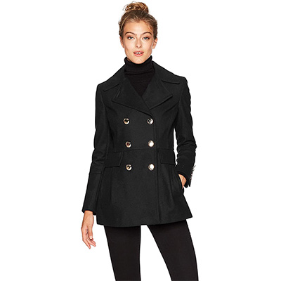 9. Calvin Klein Women's Wool Coat with Button Detail
