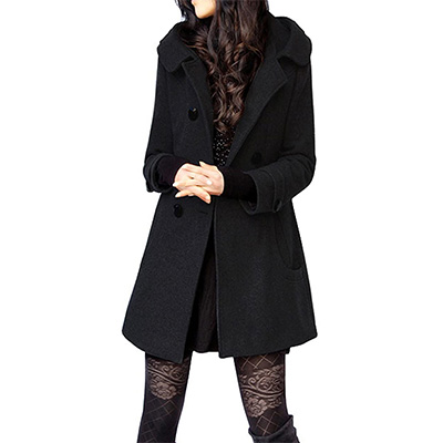 3. Tanming Women's Double Breasted Wool Pea Coat with Hood