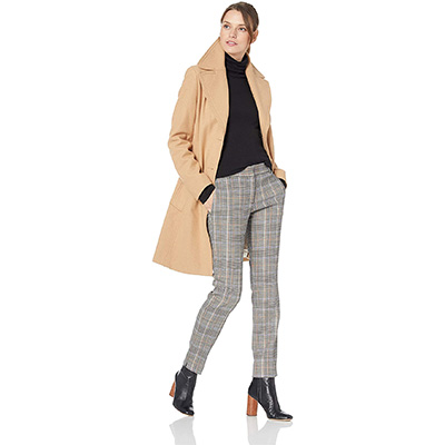 5. Calvin Klein Women's Single Breasted Wool Coat with Notch Collar