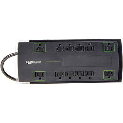 9. AmazonBasics 4,320 Joule 12-Outlet Power Strip Surge Protector