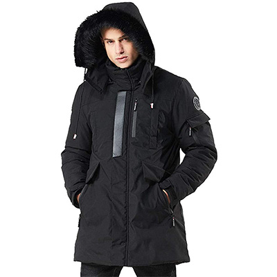 7. WEEN CHARM Men's Parka Jacket with Detachable Hood